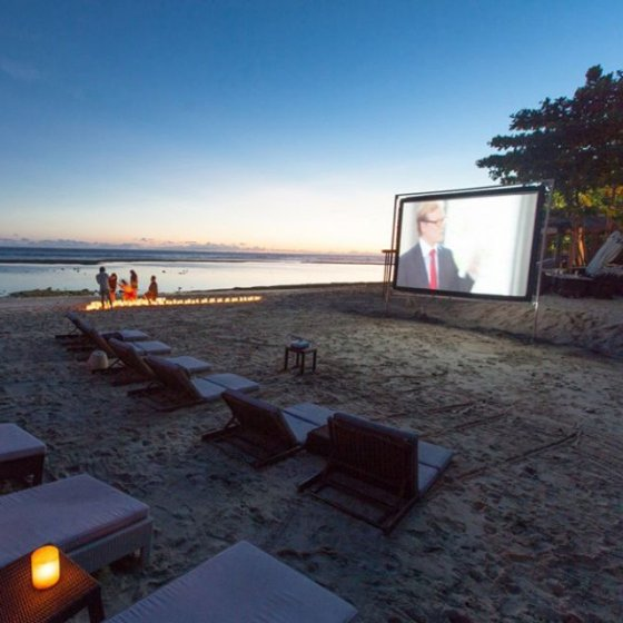 Relaxing under the stars with your private cinema..
